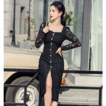 Dress Spring 2021 Off white, black S,M,L,XL Mid length dress singleton  Long sleeves commute square neck High waist Solid color zipper Pencil skirt routine Others Type H Korean version Holes, pleats, three-dimensional decoration, beads, buttons, mesh, zipper polyester fiber