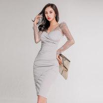 Dress Autumn 2020 Light grey S,M,L,XL Middle-skirt singleton  Long sleeves commute V-neck routine Others Korean version Splicing