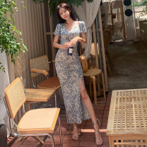 Dress Summer of 2019 Picture color S,M,L,XL longuette singleton  Short sleeve commute V-neck middle-waisted other Socket One pace skirt Others Other / other Korean version 81% (inclusive) - 90% (inclusive) knitting