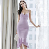 Dress Summer 2020 violet S,M,L,XL Miniskirt singleton  Sleeveless High waist Solid color Ruffle Skirt camisole 25-29 years old brocade