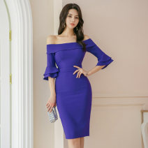 Dress Autumn 2020 blue S,M,L,XL Middle-skirt singleton  three quarter sleeve commute One word collar middle-waisted Solid color zipper One pace skirt pagoda sleeve Others Type H Korean version backless 31% (inclusive) - 50% (inclusive) brocade cotton
