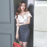 Dress Summer 2020 Picture color S,M,L,XL Short skirt singleton  Sleeveless commute High waist Dot zipper Pencil skirt Type X Other / other Korean version