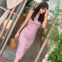 Dress Summer of 2019 violet S,M,L,XL Middle-skirt singleton  Sleeveless commute Crew neck High waist zipper other Others 18-24 years old Type X Other / other Korean version