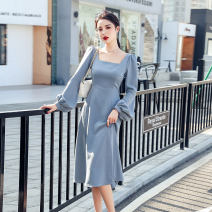 Dress Spring 2021 Grey blue, rouge powder S,M,L,XL Mid length dress singleton  Long sleeves commute square neck High waist Solid color zipper A-line skirt bishop sleeve Others Type A Korean version Stereo decoration, asymmetric, zipper polyester fiber