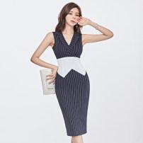 Dress Summer 2020 Navy Stripe S,M,L,XL Miniskirt singleton  Sleeveless commute tailored collar High waist stripe Pencil skirt Type H Korean version