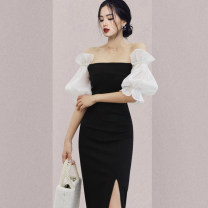 Dress Spring 2021 black S,M,L,XL Mid length dress singleton  Short sleeve commute One word collar High waist Solid color zipper One pace skirt puff sleeve Others Type H Ol style Stitching, mesh, zipper 31% (inclusive) - 50% (inclusive) other nylon