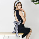 Dress Summer of 2018 black S,M,L,XL singleton  Sleeveless commute V-neck High waist Solid color One pace skirt Type H Other / other Korean version Bow, open back, lace up 31% (inclusive) - 50% (inclusive) brocade polyester fiber