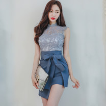 Dress Summer of 2018 Picture color (suit) S,M,L,XL Middle-skirt Two piece set Sleeveless commute stand collar middle-waisted Solid color other One pace skirt Others Other / other Korean version Lace 31% (inclusive) - 50% (inclusive) Lace other