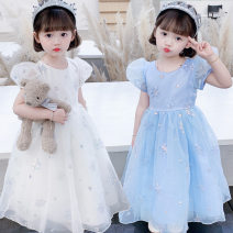 Dress Blue, white female Other / other 110cm,120cm,130cm,140cm,150cm Other 100% summer Korean version Short sleeve Solid color cotton Princess Dress Class B Three, four, five, six, seven, eight, nine, ten, eleven, twelve Chinese Mainland Guangdong Province