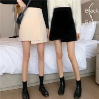 skirt Spring 2021 S,M,L Apricot, black Short skirt commute High waist A-line skirt Solid color Type A 18-24 years old 31% (inclusive) - 50% (inclusive) Korean version