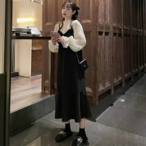 Dress Spring 2021 Black suspender skirt, lace shirt Average size longuette Two piece set Long sleeves commute Crew neck High waist Solid color Socket A-line skirt routine camisole 18-24 years old Type A Other / other Korean version Splicing 51% (inclusive) - 70% (inclusive) Chiffon other