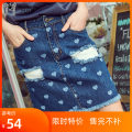 skirt Summer of 2019 S,M,L,XL blue Short skirt street Denim skirt Type A 25-29 years old M1920K0358 Max Martin / Mary cotton Europe and America