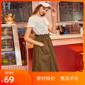 Dress Spring of 2019 Dazzling white 155/S,160/M,165/L,170/XL longuette singleton  Short sleeve street Crew neck Elastic waist letter routine 25-29 years old Max Martin / Mary More than 95% cotton Europe and America