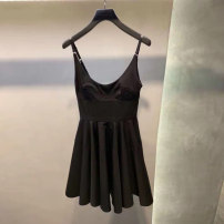 Dress Summer 2021 black S,M,L Short skirt singleton  Short sleeve commute One word collar High waist Solid color Socket A-line skirt other Others 18-24 years old Type A Korean version 30% and below Chiffon cotton