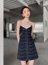 Dress Summer 2021 navy blue S,M,L Short skirt singleton  commute High waist other 18-24 years old Type A Other / other Korean version