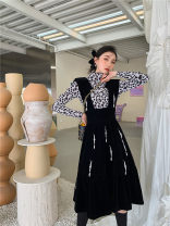 Dress Winter 2020 Black suspender skirt S, M longuette singleton  Long sleeves commute Crew neck High waist Solid color A-line skirt routine camisole 25-29 years old Type A Splicing polyester fiber