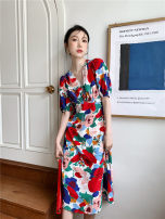 Dress Summer 2021 Big flower long style S,M,L longuette singleton  Sleeveless commute One word collar High waist Decor Socket A-line skirt other camisole 25-29 years old Type A printing 30% and below Chiffon polyester fiber