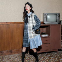 Dress Spring 2020 Black tie with plaid stitching S,M,L Short skirt singleton  Long sleeves Sweet square neck lattice Single breasted Pleated skirt routine 18-24 years old Type A Stitching, printing 91% (inclusive) - 95% (inclusive) solar system