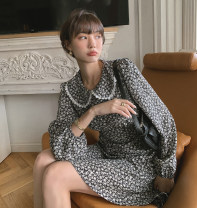 Dress Spring 2021 Black spot S,M,L Middle-skirt singleton  Long sleeves commute Crew neck High waist Broken flowers Socket One pace skirt routine Others Type A Embroidery, stitching, printing 91% (inclusive) - 95% (inclusive) Chiffon polyester fiber