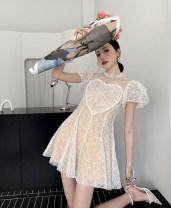 Dress Spring 2021 White love lace skirt S,M,L Short skirt singleton  Short sleeve commute High waist zipper puff sleeve 18-24 years old Type A Korean version
