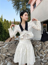 Fashion suit Spring 2021 XS,S,M,L Off white jacket long sleeve, off white skirt, off white jacket short sleeve, black jacket short sleeve, black skirt 18-25 years old 96% and above polyester fiber