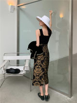 skirt Autumn 2020 S,M,L Black gold Mid length dress High waist Flower bud skirt Type A