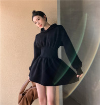 Dress Autumn 2020 black S,M,L Short skirt singleton  Long sleeves commute Hood High waist Solid color Socket A-line skirt routine 18-24 years old Type A Korean version
