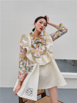 shirt 8702 yellow pink floral shirt, 8702 black green floral shirt, 8702 black skirt, 8685a white skirt S,M,L polyester fiber 96% and above Long sleeves commute Crew neck routine Solid color 25-29 years old Straight cylinder printing