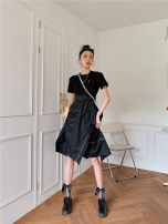 Dress Summer 2021 black S,M,L longuette singleton  Long sleeves commute V-neck High waist Decor Single breasted A-line skirt routine camisole 25-29 years old Type A Other / other pocket polyester fiber