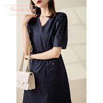 Dress Summer 2021 Navy Blue S,M,L,XL Middle-skirt singleton  Short sleeve Sweet Crew neck High waist Solid color Single breasted A-line skirt routine Others Type A Touch miss T210322014S More than 95% other cotton solar system