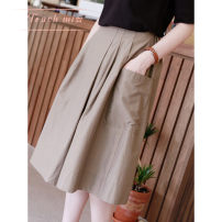 skirt Spring 2021 S,M,L,XL Black, Khaki longuette Sweet High waist Fluffy skirt Solid color Type H 25-29 years old T21022302S More than 95% Touch miss polyester fiber solar system