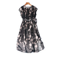 Dress Spring 2021 Grey Pink Flower The length is about 108CM and the chest circumference is about 110cm longuette singleton  Sleeveless commute Crew neck Loose waist Decor Socket other routine Type H Simplicity Frenulum More than 95% Silk and satin silk