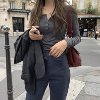 Lace / Chiffon Spring 2021 Average size Long sleeves commute Socket singleton  Self cultivation Regular Crew neck Solid color routine 18-24 years old Korean version 96% and above