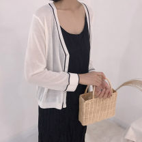 Wool knitwear Summer of 2019 Average size White, black, blue, green, pink Long sleeves singleton  Cardigan other 71% (inclusive) - 80% (inclusive) Regular ultrathin commute easy V-neck routine Solid color Single breasted Korean version Sprout up