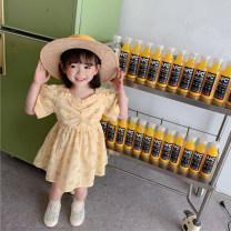 Dress Yellow, white female Other / other 80cm,90cm,100cm,110cm,120cm,130cm Other 100% summer Korean version Short sleeve Broken flowers Cotton polyester A-line skirt NB-002L Class B Two, three, four, five, six, seven, eight, nine Chinese Mainland Zhejiang Province Huzhou City