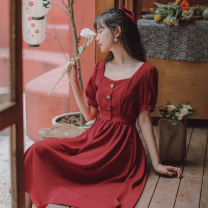 Dress Summer 2020 claret S,M,L Mid length dress singleton  Short sleeve commute square neck High waist Solid color Socket A-line skirt routine Others 18-24 years old Type A literature Bows, ties, buttons 71% (inclusive) - 80% (inclusive) brocade cotton
