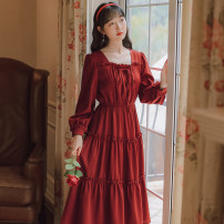 Dress Autumn 2020 Red, black S,M,L Mid length dress singleton  Long sleeves commute square neck High waist Solid color Socket A-line skirt routine Others 18-24 years old Type A literature Bows, folds, Auricularia auricula 71% (inclusive) - 80% (inclusive) brocade cotton