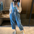 Jeans Autumn of 2019 Denim blue (in stock), Denim Blue ~ to be sent as soon as possible Average size trousers High waist Wide legged trousers routine 18-24 years old washing Thin denim light colour