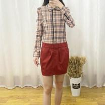 Dress Autumn 2020 S,M,L,XL Mid length dress singleton  Long sleeves street lattice Socket shirt sleeve 30-34 years old Type H R29 More than 95% cotton Sports & Leisure
