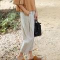Casual pants M, L Summer 2020 Ninth pants Wide leg pants Natural waist 25-29 years old 91% (inclusive) - 95% (inclusive) cotton cotton Asymmetry