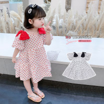 Dress Red and black female Geyoupailang 90cm 100cm 110cm 120cm 130cm 140cm Other 100% summer Korean version Short sleeve Dot other A-line skirt GYXP2479-1 Class B Summer 2021 18 months, 2 years old, 3 years old, 4 years old, 5 years old, 6 years old, 7 years old, 8 years old