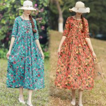Dress Spring 2020 Orange (rose leaves), Turquoise (rose leaves) M,L,XL,2XL longuette singleton  elbow sleeve commute Crew neck Loose waist Broken flowers Socket A-line skirt routine Others 40-49 years old Type A Simplicity Pleats, folds, pockets, buttons, prints 91% (inclusive) - 95% (inclusive) hemp