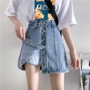 skirt Summer 2020 S 90-100kg, m 100-110kg, l 110-120kg, XL 120-135kg, 2XL 135-150kg, 3XL 150-165kg, 4XL 165-175kg, 5XL 175-200kg Blue, white, black Short skirt commute High waist A-line skirt Type A 18-24 years old Denim Coardiarn / Kuandian cotton Korean version