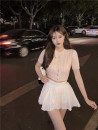 Fashion suit Summer 2021 S. M, average size Pink top, white top, white skirt 18-25 years old Other / other