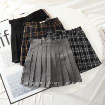 skirt Winter of 2019 XS,S,M,L,XL Gray, black, khaki wt509, black and white wt509 Short skirt Versatile High waist Pleated skirt