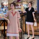Dress Summer 2020 Pink, black M,L,XL,2XL Mid length dress singleton  Short sleeve commute V-neck High waist Solid color Socket A-line skirt routine Others Type A Korean version 71% (inclusive) - 80% (inclusive) brocade cotton
