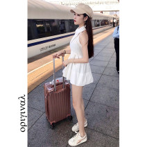 Dress Spring 2021 white S,M,L,XL longuette Two piece set Long sleeves commute High waist Solid color other A-line skirt routine camisole 18-24 years old Type A Korean version 31% (inclusive) - 50% (inclusive) brocade cotton