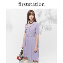 Dress Summer 2020 violet 2/S,3/M,4/L,5/XL,6/XXL Mid length dress singleton  Short sleeve other High waist Three buttons A-line skirt routine 25-29 years old Type A FIRSTSTATION HFFEH4556A hemp