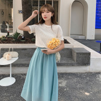 Fashion suit Summer 2021 Average size Yellow + apricot, white + blue 81% (inclusive) - 90% (inclusive) polyester fiber