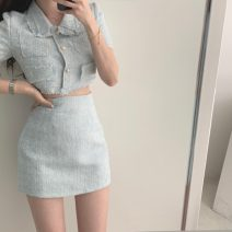 Wool knitwear Summer 2021 S,M,L Top, skirt Short sleeve Two piece set other More than 95% have cash less than that is registered in the accounts Thin money Single breasted